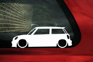 2x LOW BMW Mini R56 Cooper S, works, Outline silhouette stickers, decals